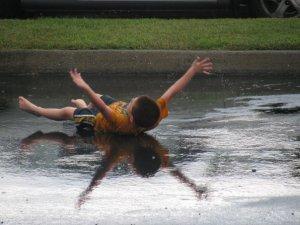 V in the rain